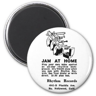 Kitsch Vintage Ad Jam at Home Jazz Magnet
