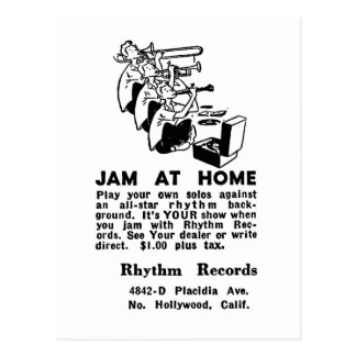 Kitsch Vintage Ad Jam at Home Jazz Postcard