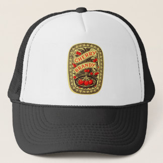 Kitsch Vintage Alcohol Cherry Brandy Label Trucker Hat