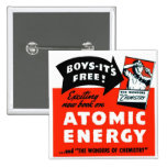 Kitsch Vintage Atomic Energy For Kids! 2 Inch Square Button
