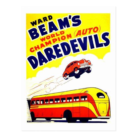 Kitsch Vintage Auto Daredevils Postcard