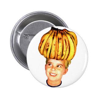 Kitsch Vintage Bananas Ad 'Banana Head girl' Pinback Button
