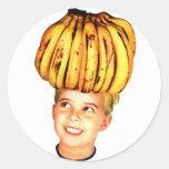 Kitsch Vintage Bananas Ad 'Banana Head girl' Round Sticker