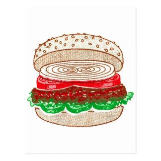 Kitsch Vintage Big Hamburger Postcard