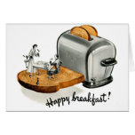 Kitsch Vintage Breakfast toast 'Happy Breakfast' Card