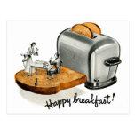 Kitsch Vintage Breakfast toast 'Happy Breakfast' Postcard