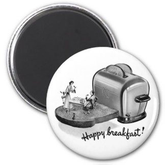Kitsch Vintage Breakfast Toaster 'Happy Breakfast' 2 Inch Round Magnet