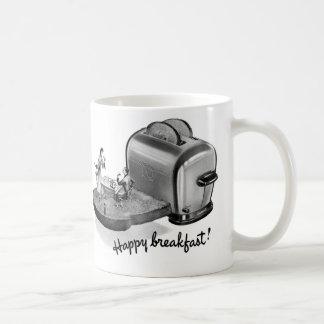 Kitsch Vintage Breakfast Toaster 'Happy Breakfast' Coffee Mug