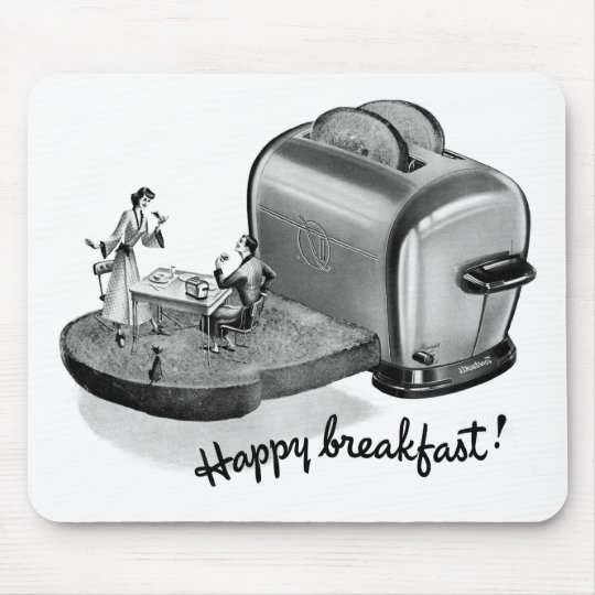 Kitsch Vintage Breakfast Toaster 'Happy Breakfast' Mouse Pad