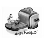 Kitsch Vintage Breakfast Toaster 'Happy Breakfast' Postcard