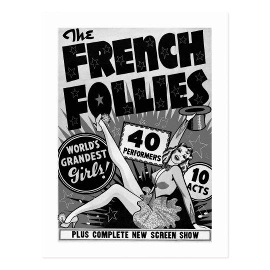 Kitsch Vintage Burlesque French Follies Girls Postcard