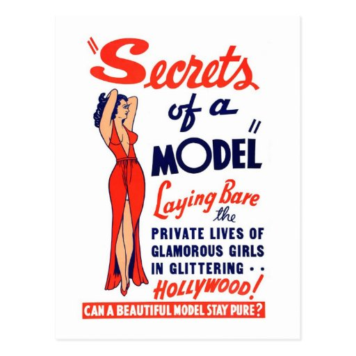 Kitsch Vintage Burlesque Secrets of a Model Postcard