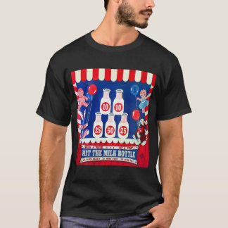 Kitsch Vintage Carnival Game Hit The Milk Bottle T-Shirt