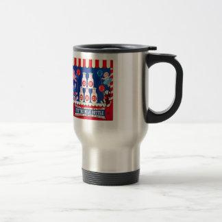 Kitsch Vintage Carnival Game Hit The Milk Bottle Travel Mug