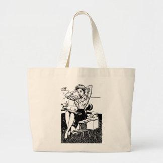Kitsch Vintage Cartoon Pin-Up Office Girl Jumbo Tote Bag