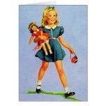 Kitsch Vintage Children Kids 'Happy Girl' Card