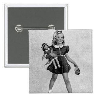 Kitsch Vintage Children Kids 'Happy Girl' Pinback Button
