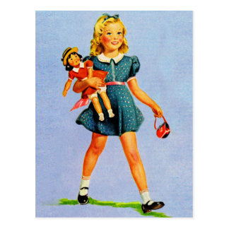 Kitsch Vintage Children Kids 'Happy Girl' Postcard