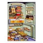 Kitsch Vintage Classic Refrigerator 'Full Fridge' Greeting Card