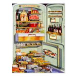Kitsch Vintage Classic Refrigerator 'Full Fridge' Postcards