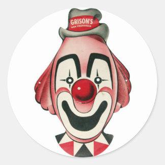 Kitsch Vintage Clown Face, Mask Classic Round Sticker
