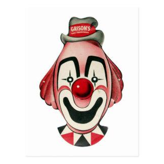 Kitsch Vintage Clown Face, Mask Postcard