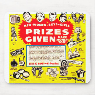 Kitsch Vintage Comic Ad 'Prizes Given!' Mouse Pad