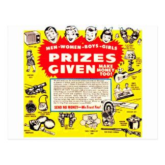 Kitsch Vintage Comic Ad 'Prizes Given!' Postcard