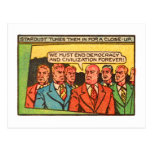 Kitsch Vintage Comic Bad Guys End Democracy Post Card