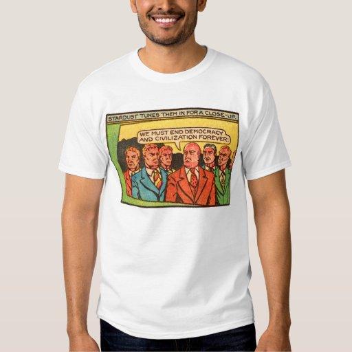Kitsch Vintage Comic Bad Guys End Democracy Tee Shirt