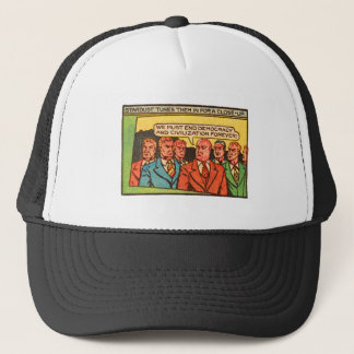 Kitsch Vintage Comic Bad Guys End Democracy Trucker Hat