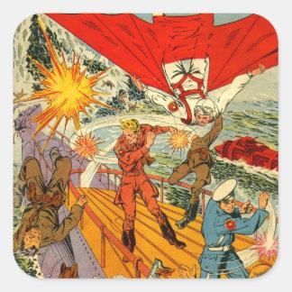 Kitsch Vintage Comic Book 'Battle on U-Boat' Square Sticker