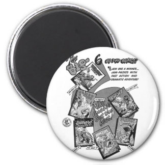 Kitsch Vintage Comic Book 'Big 6' Fiction House 2 Inch Round Magnet
