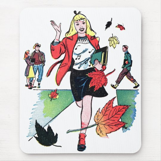 Kitsch Vintage Comic Book Teen Girl Mouse Pad
