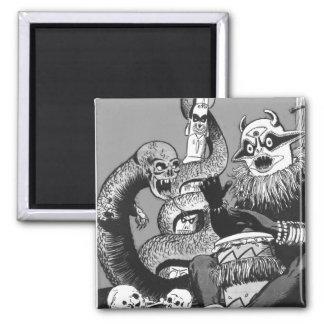 Kitsch Vintage Comic Cannibal Warriors Fridge Magnet