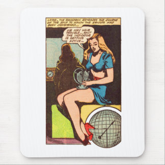 Kitsch Vintage Comic Girl Indicator is Active' Mouse Pad