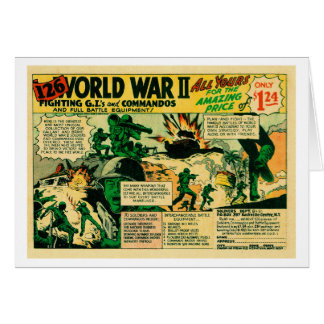 Kitsch Vintage Comic Toy Ad '126 WWII Soldiers!' Card