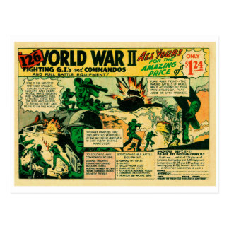 Kitsch Vintage Comic Toy Ad '126 WWII Soldiers!' Postcard