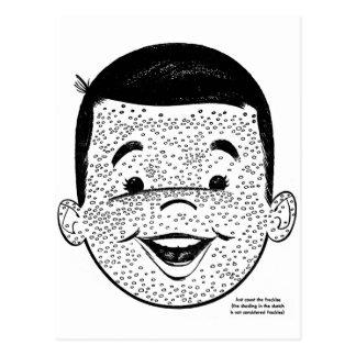 Kitsch Vintage Count My Freckles Kid Postcard