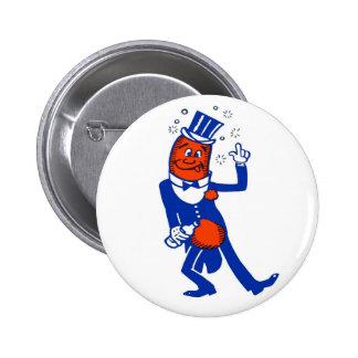 Kitsch Vintage Drunk Hot Dog Pinback Button