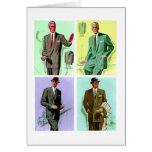 Kitsch Vintage Fashion Men's Suits Card