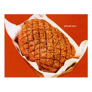 Kitsch Vintage Food 'Ground Beef' Postcard