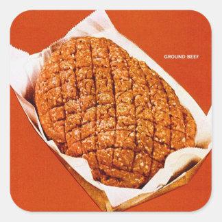 Kitsch Vintage Food 'Ground Beef' Square Sticker