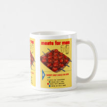 Kitsch Vintage Food 'Meats For Men' Cook Book Coffee Mug