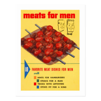 Kitsch Vintage Food 'Meats For Men' Cook Book Postcard