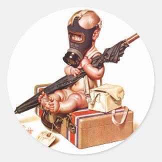 Kitsch Vintage Gas Mask War Baby Classic Round Sticker