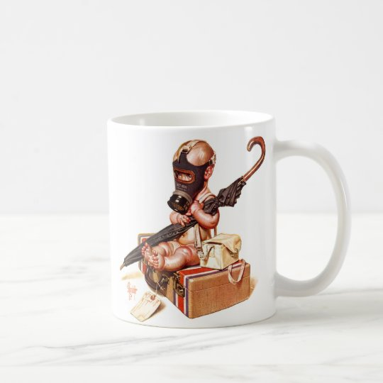 Kitsch Vintage Gas Mask War Baby Coffee Mug