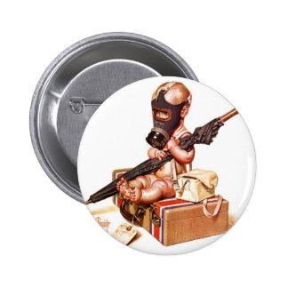 Kitsch Vintage Gas Mask War Baby Pinback Button