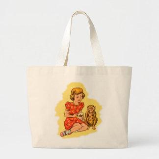 Kitsch Vintage Girl Feeding Her Pet Monkey Bag