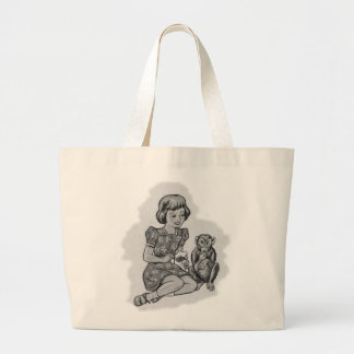 Kitsch Vintage Girl & Her Pet Monkey Tote Bags